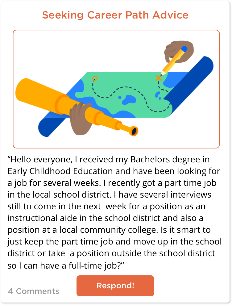 TeachersConnect post from Sharai on the next steps of her teaching career