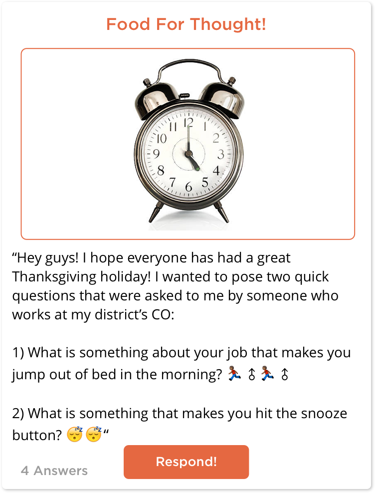 TeachersConnect post about what gets you up in the morning.