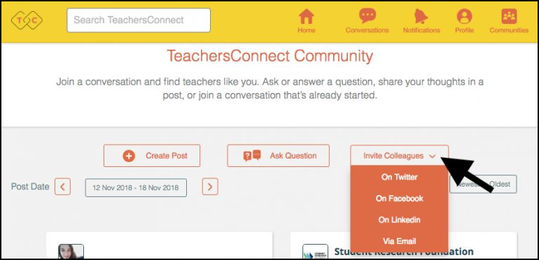 Image of TeachersConnect Invite Button