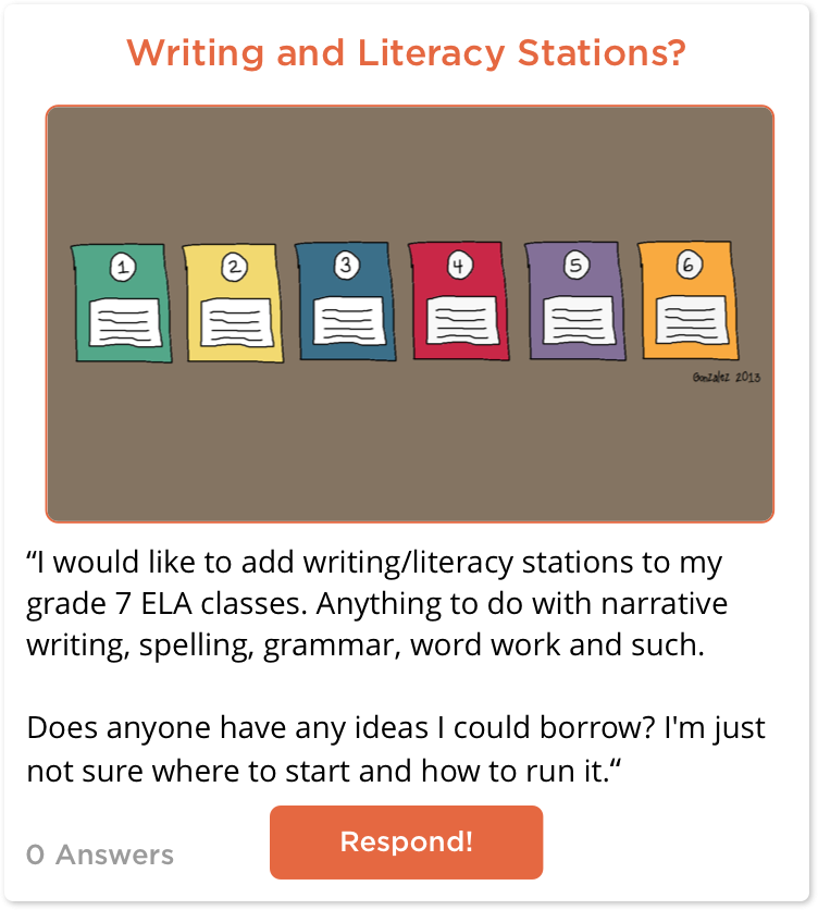 TeachersConnect post about Writing and Literacy