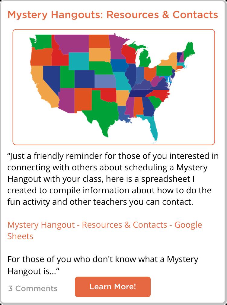 TeachersConnect post about Mystery Hangouts