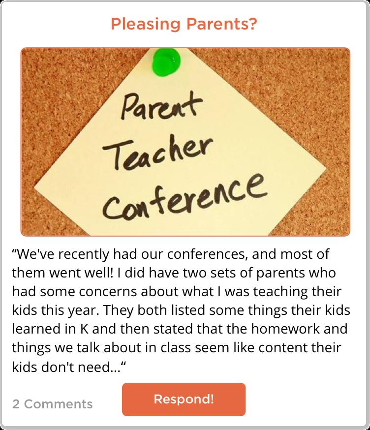 TeachersConnect Post questioning pleasing parents