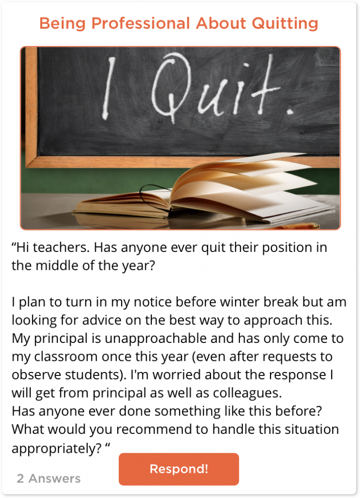 TeachersConnect post about how to quit midyear