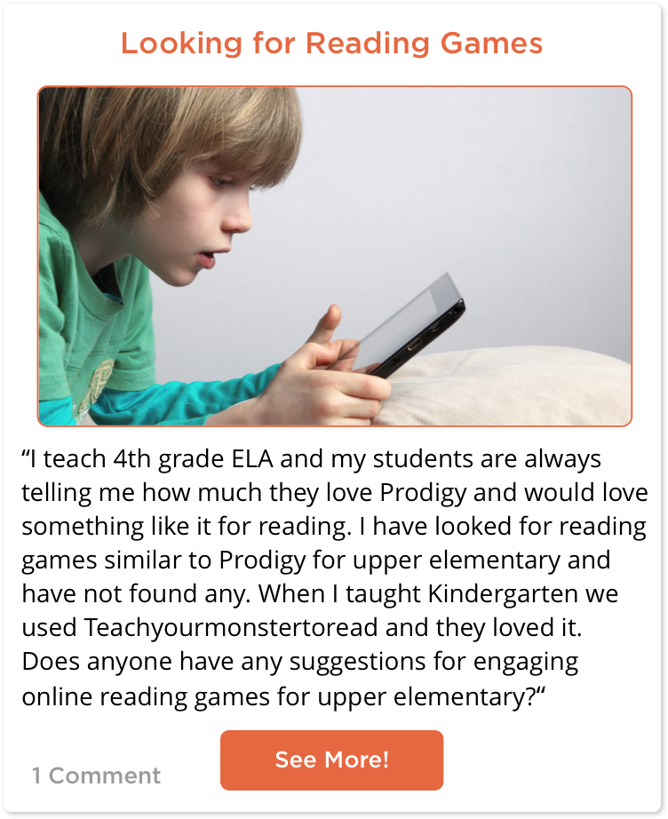 TeachersConnect post from a teacher looking for 4th grade reading games