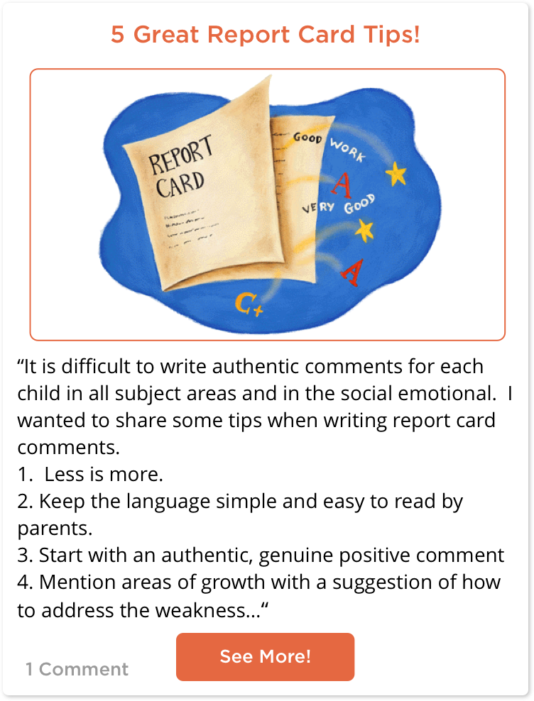 TeachersConnect Post with 5 great report card tips for teachers.