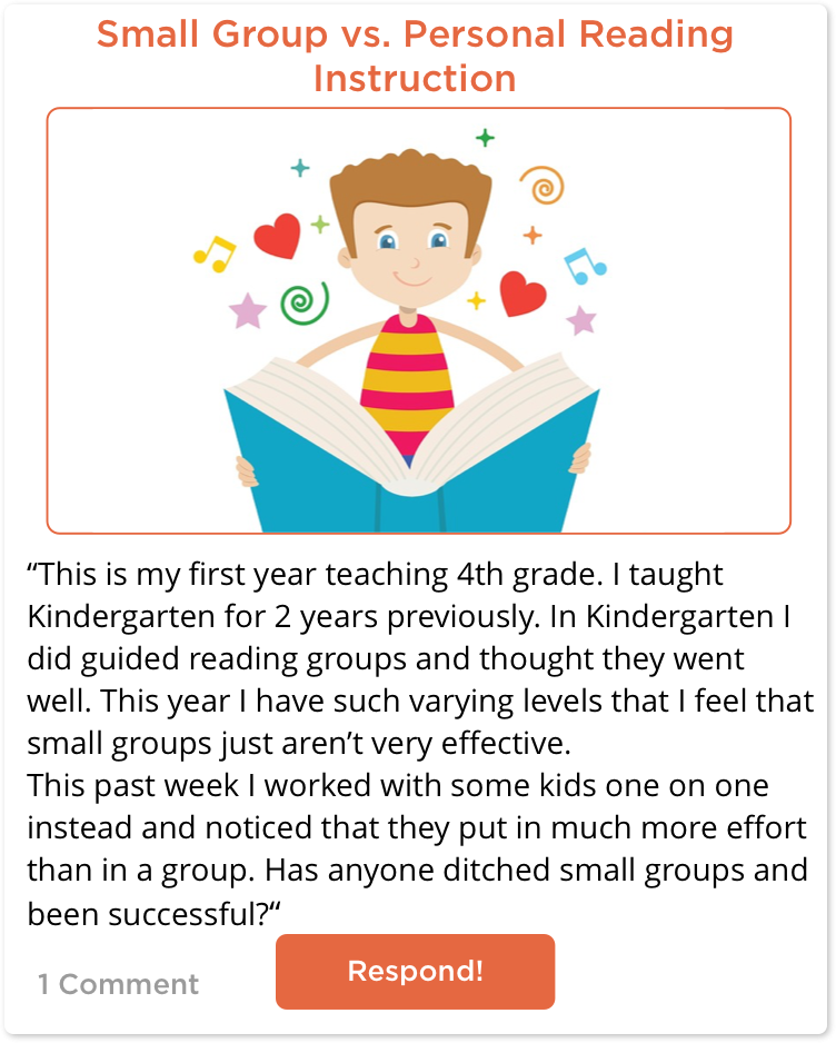 TeachersConnect post about small group vs. personal instruction