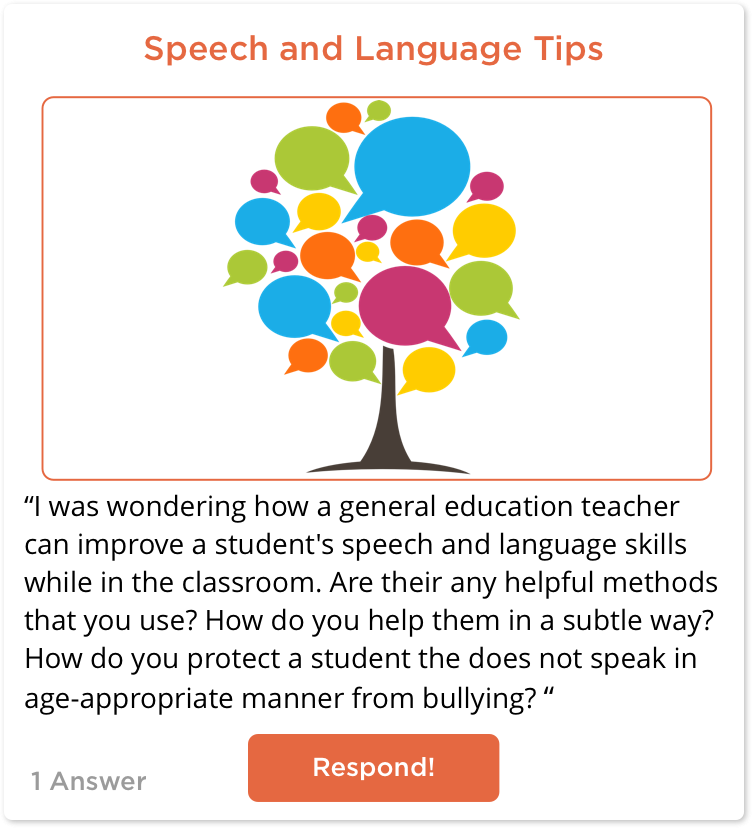 TeachersConnect post about Students Speech and Language