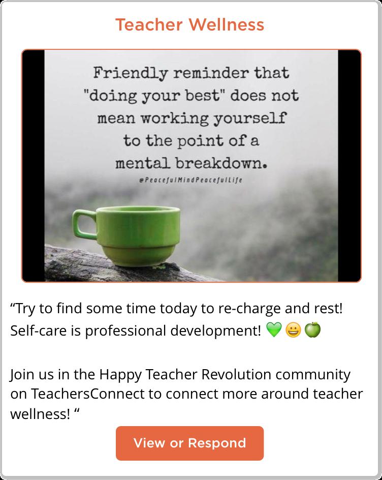 Happy Teacher Revolution Teacher Wellness Post