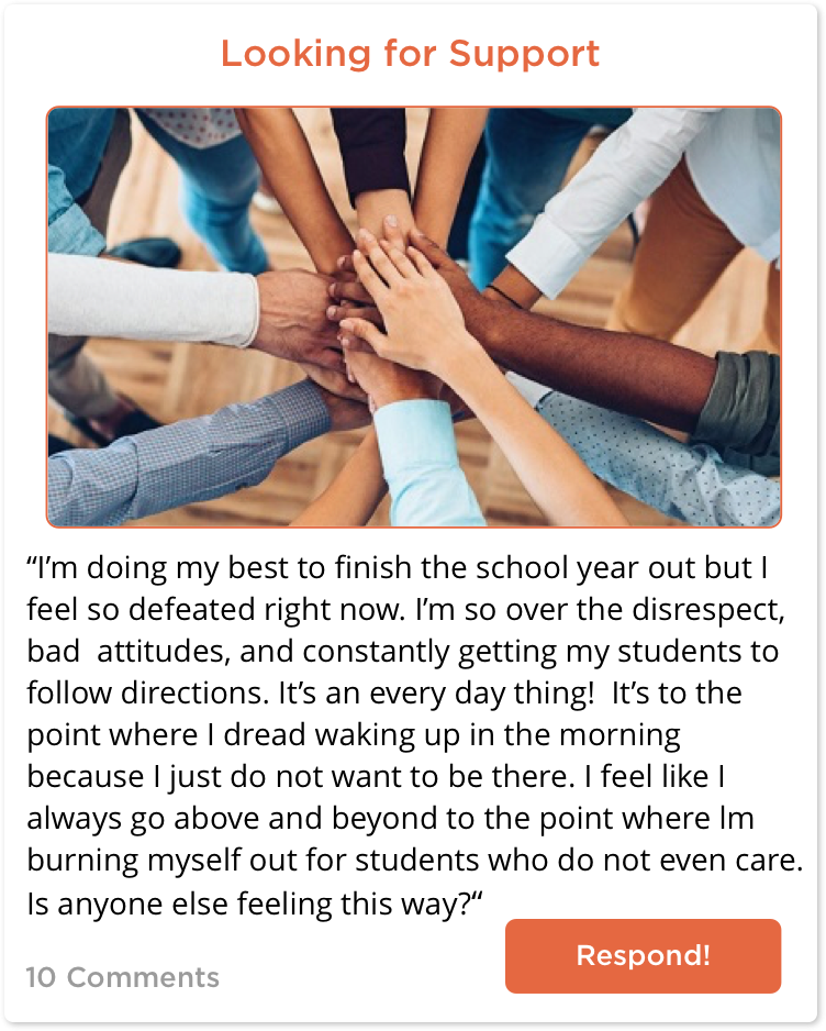 TeachersConnect post about a teacher looking for support