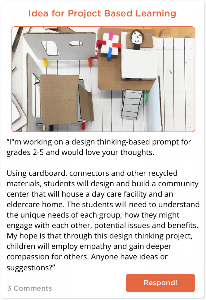TeachersConnect Post about a design thinking idea