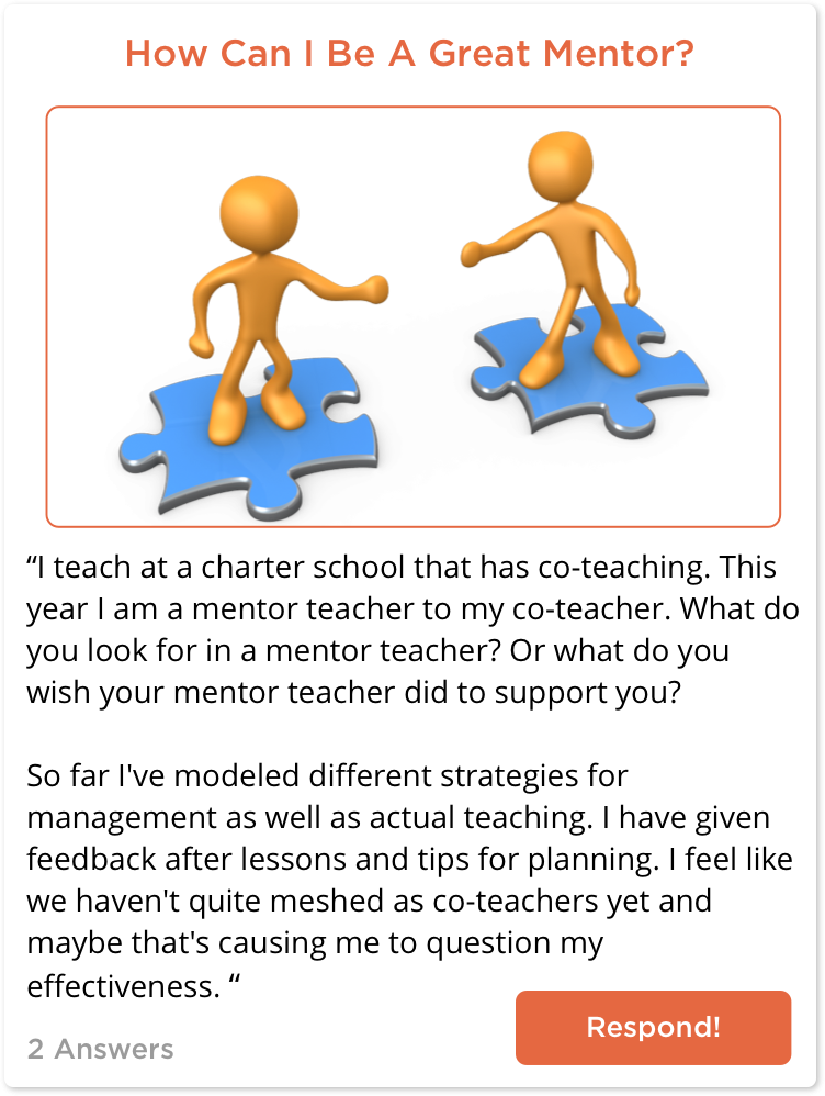 TeachersConnect post about being a great mentor