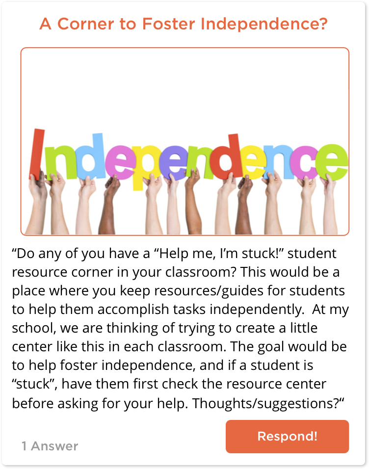 TeachersConnect post about fostering independence in students