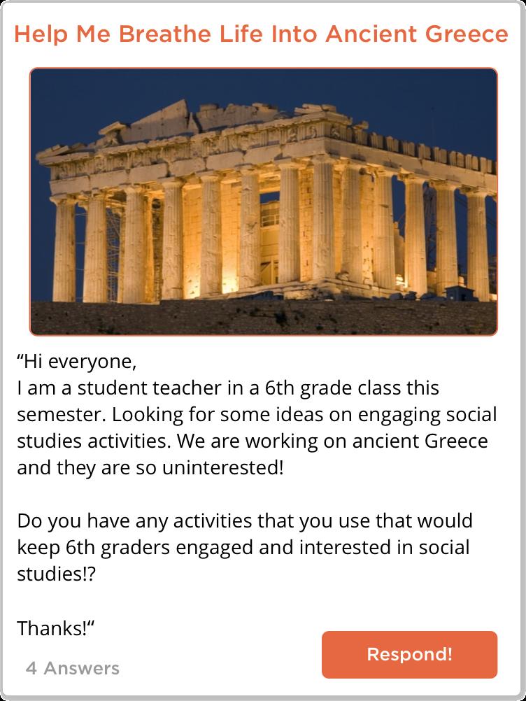 TeachersConnect post about social studies activities