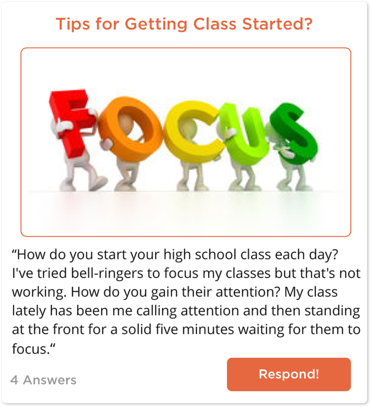 TeachersConnect post asking for tips for getting class started quickly