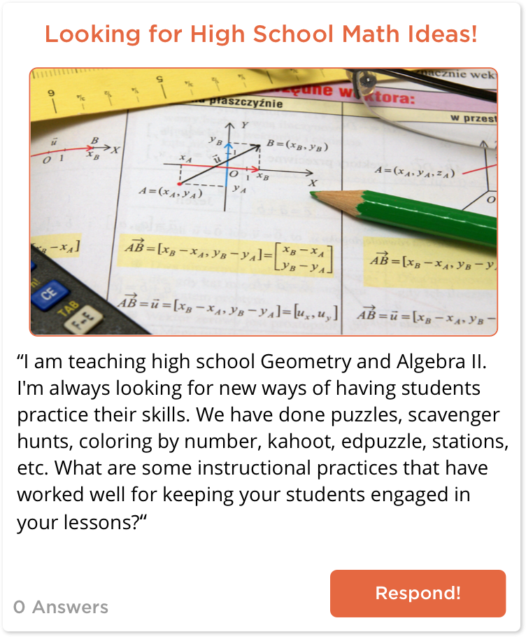 TeachersConnect post looking for math ideas