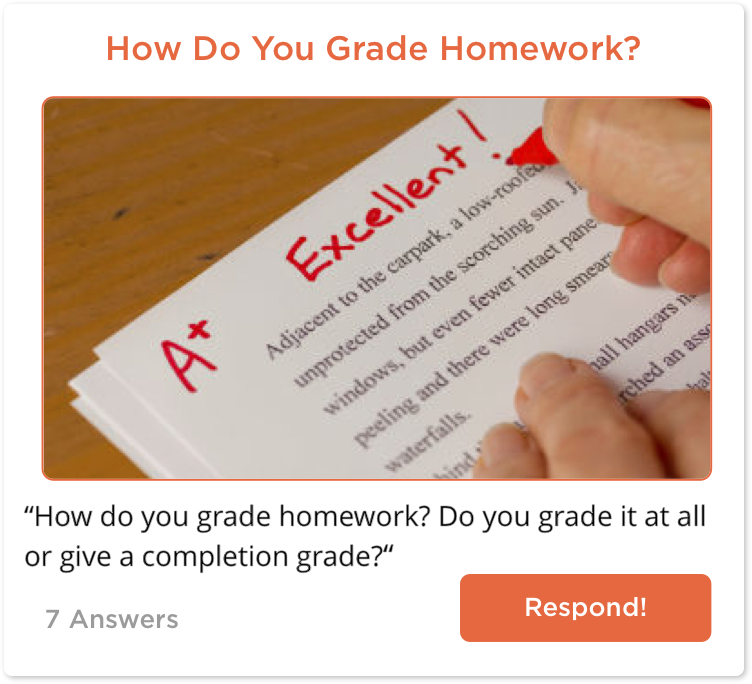 TeachersConnect post about homework grading