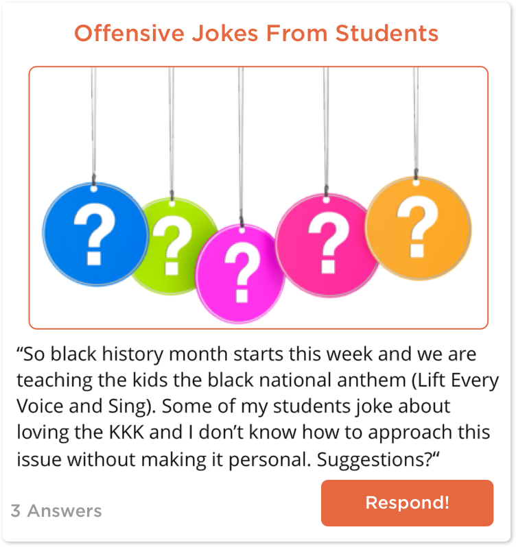 TeachersConnect post about dealing with offensive jokes from students