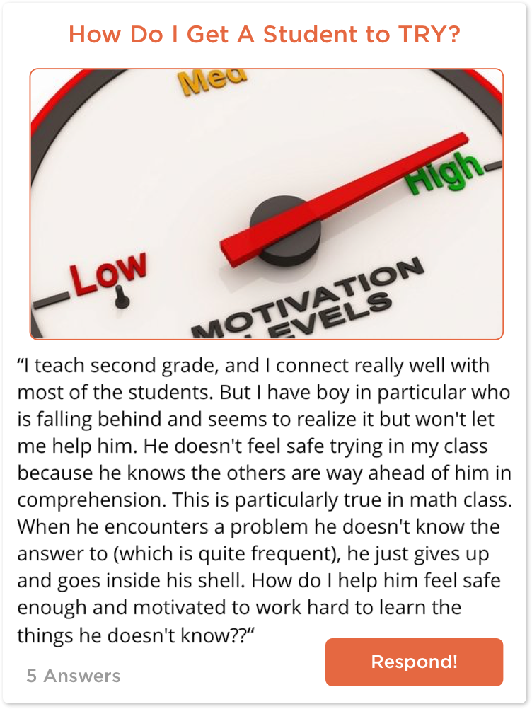 TeachersConnect post about student motivation