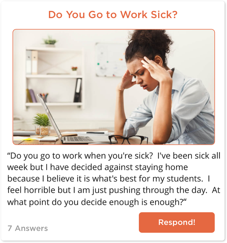 TeachersConnect post about going to work sick