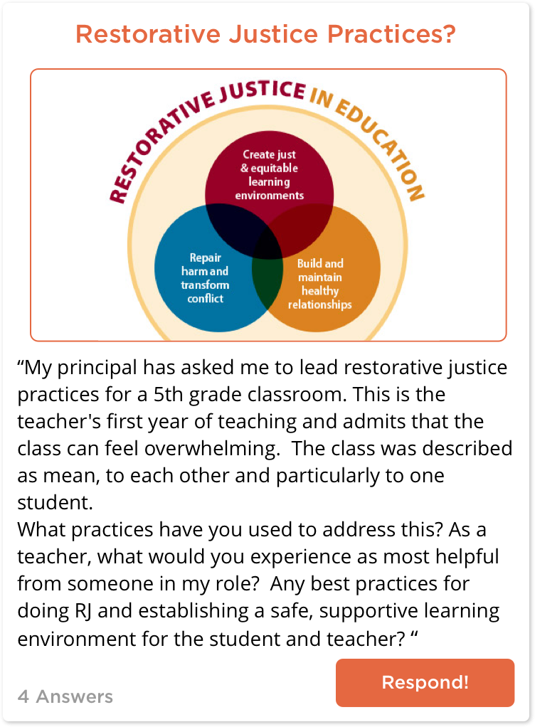TeachersConnect Post about Restorative Justice in the Classroom