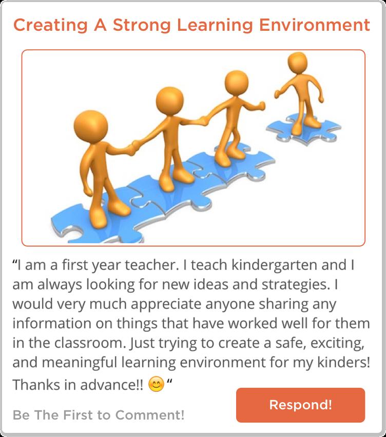 TeachersConnect post about creating a Kindergarten Learning Environment