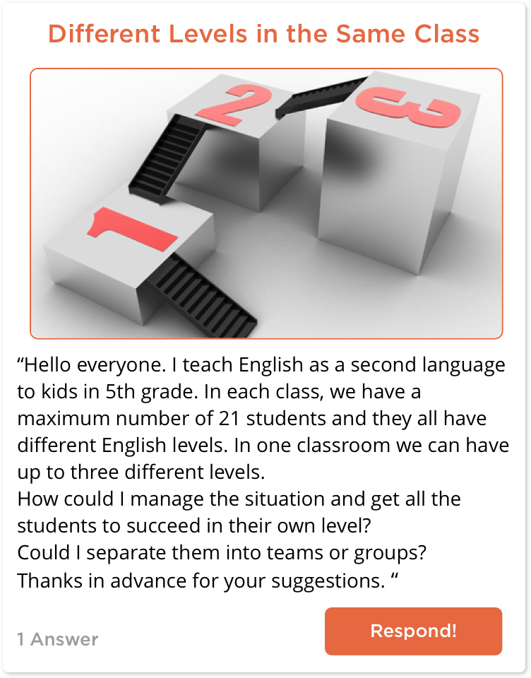 TeachersConnect post about handling students at different language levels