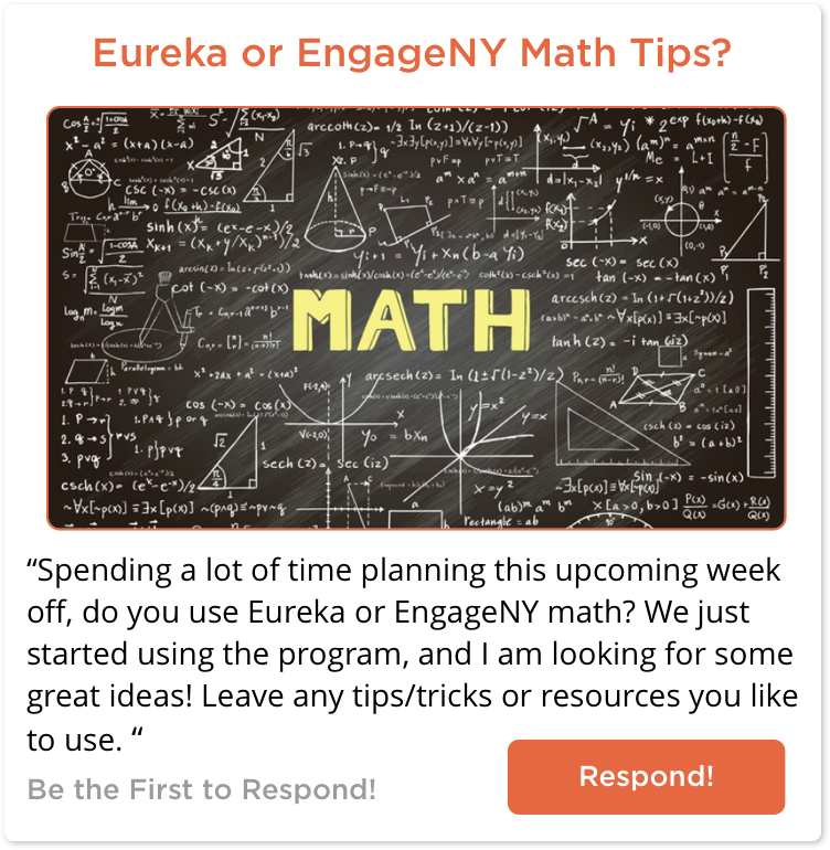 TeachersConnect post asking for tips around Eurkea or Engage NY Math