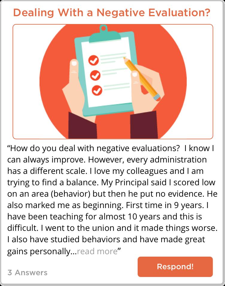 TeachersConnect post about dealing with a negative evaluation