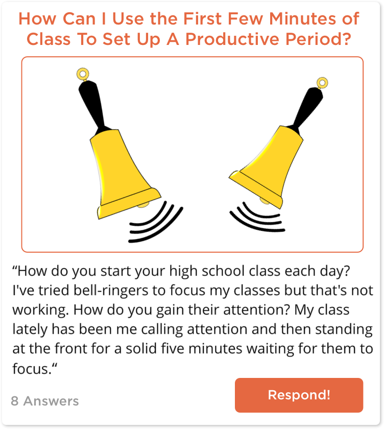 TeachersConnect post about getting class started efficiently