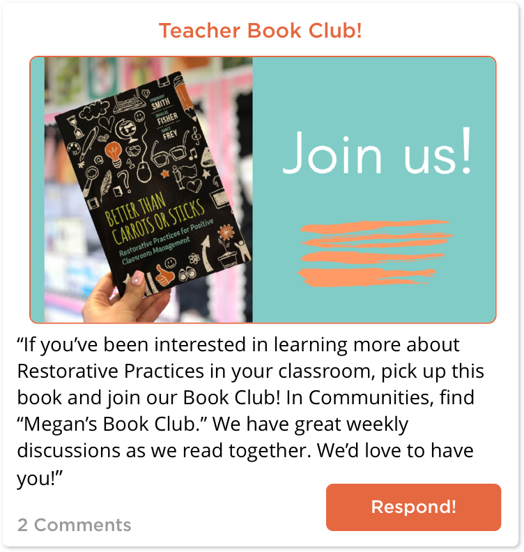 Invitation to join TeachersConnect book club
