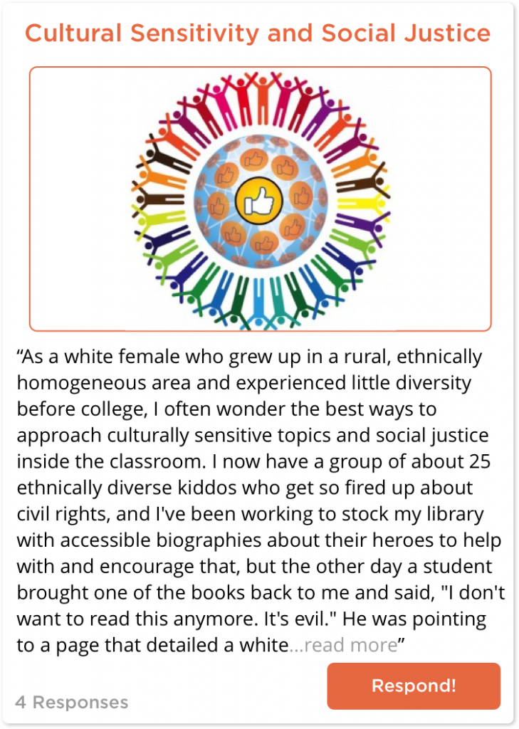 TeachersConnect post about social justice