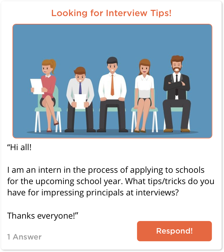 TeachersConnect post looking for interview tips
