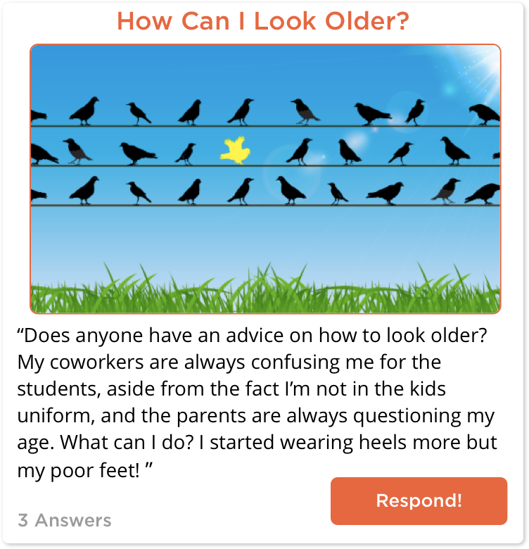 TeachersConnect post about how to look older than students