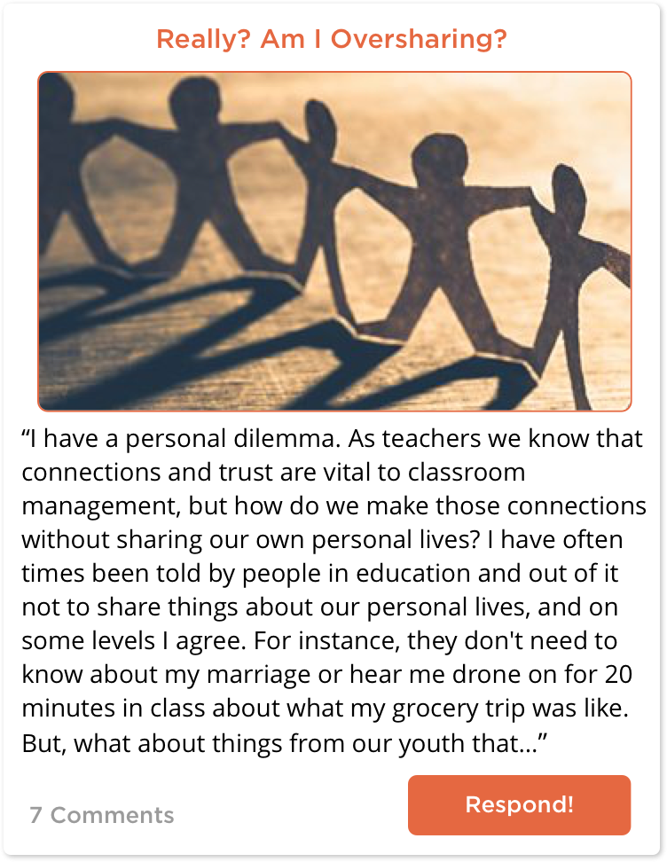 TeachersConnect post about oversharing with students