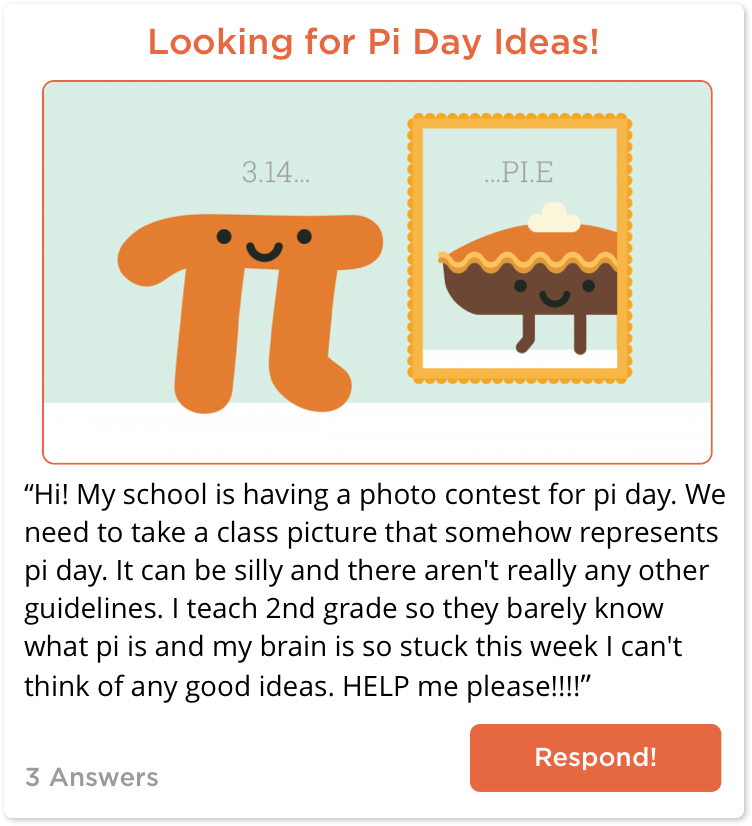 TeachersConnect post looking for Pi Day ideas