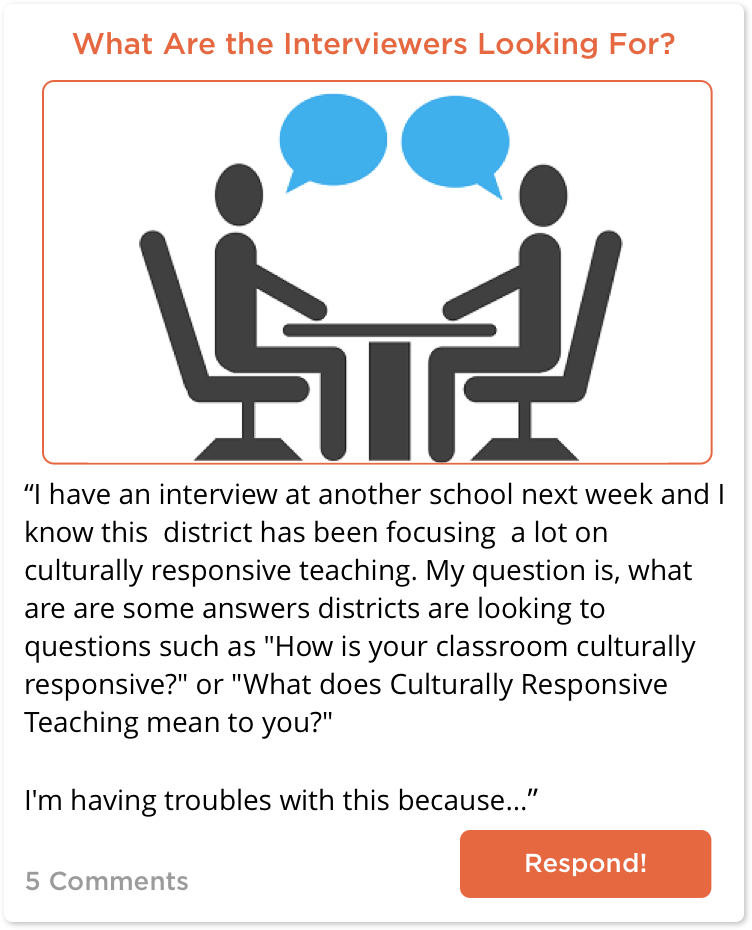 TeachersConnect post about interviewing