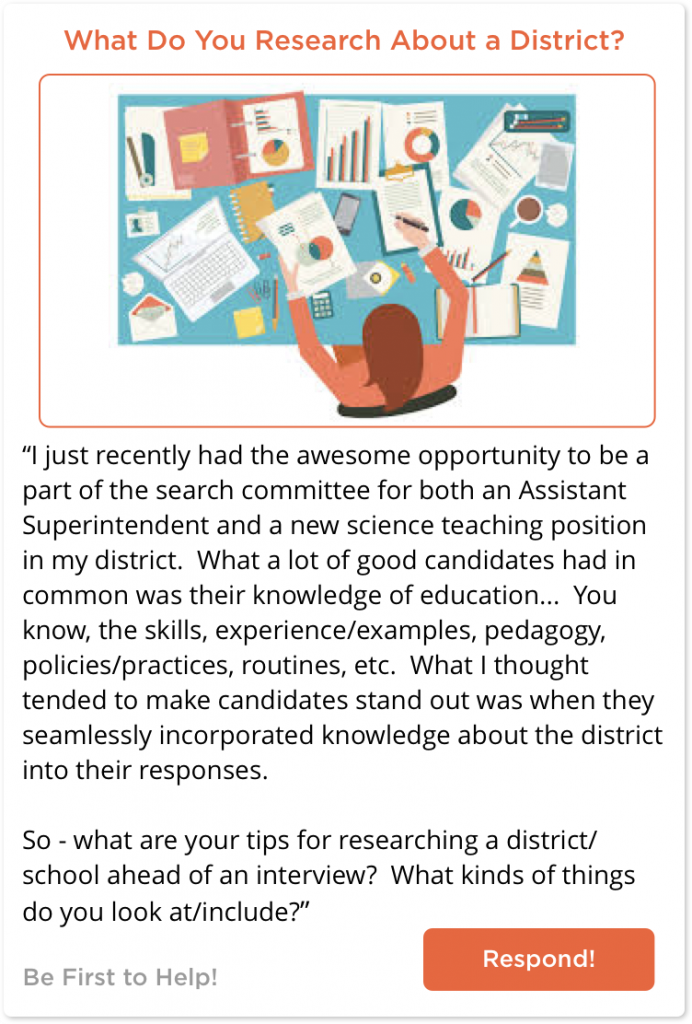 Teacher asking how to research a district before an interview
