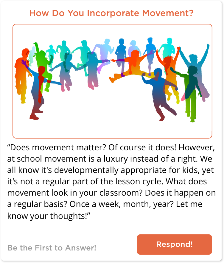 TeachersConnect post about movement in the classroom